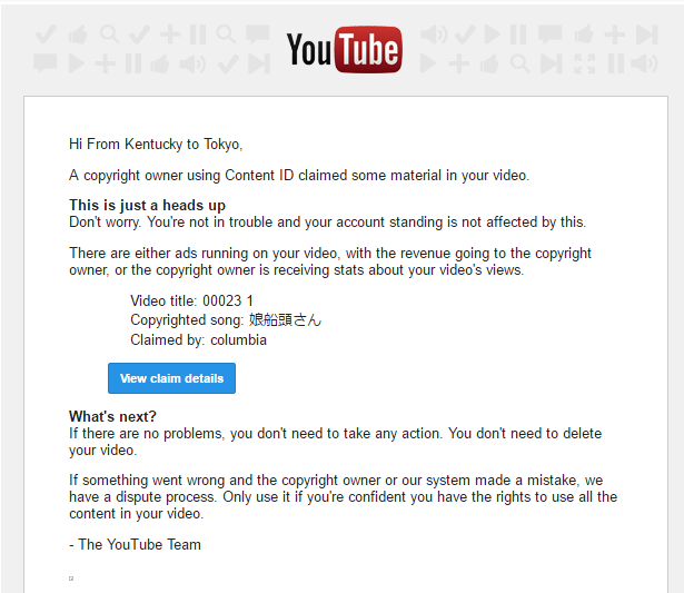 Copyright claim gmail